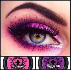 Alluring purple/pink eyeshadow using Sugarpill& Dollipop and Poison Plum pr. Bright Eyeshadow, Eyeshadow Looks, Makeup Eyeshadow, Dark Makeup, Skin Makeup, Sugarpill Cosmetics, Beautiful Goddess, Gorgeous Eyes, Rainbow Hair