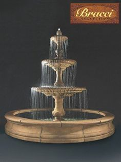 A tall and stately piece made with durable cast stone, this 3-Tier Four Seasons Outdoor Water Fountain stands exactly 12 feet tall and comes with a 12-foot wide Bracci basin. Its sweeping proportions