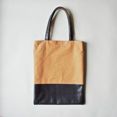 Organic Canvas Tote with Leather Straps  Cinnamon by ribandhull, $180.00