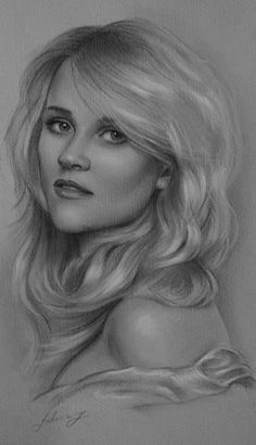 Pencil Portrait Mastery - Celebrity Pencil Portraits - Reese Witherspoon - Discover The Secrets Of Drawing Realistic Pencil Portraits Realistic Pencil Drawings, Graphite Drawings, Amazing Drawings, Horse Drawings, Portrait Au Crayon, Pencil Portrait, Celebrity Drawings, Celebrity Portraits, Portrait Sketches