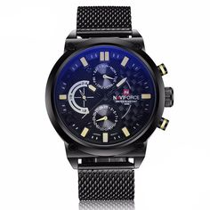 Cheap masculino, Buy Quality masculinos relogios directly from Sorbuzz' s masculino watch Suppliers: NAVIFORCE Brand Black Fashion Mesh Steel Mens Quartz Watch 24 Hour Date Clock Male Sport Military Wristwatches Relogio Masculino Mens Sport Watches, Watches For Men, Casual Watches, Wrist Watches, Men's Watches, Popular Watches, Elegant Watches, Tactical Watch, Tactical Gear
