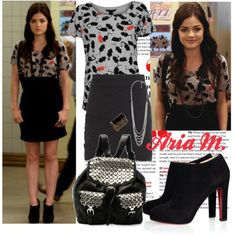 Aria's style marc jacobs shirt with mice, tight black skirt, christian louboutin black ankle boots, black studded backpack, black ring Pretty Little Liars Aria, Pretty Little Liars Outfits, Black Ankle Boots, Black Booties, Aria Style, Studded Backpack, Type 4, Mice, Marc Jacobs