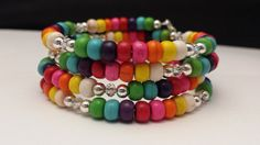 Multi-Color Magnesite & Clear Glass Crystal Beads by SUNnNITE