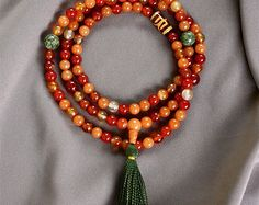 carved tibetan jade mala prayer beads handcrafted por jayapadmani