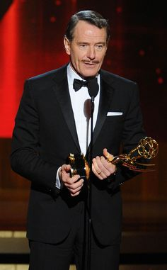 Bryan Cranston accepts his second Best Lead Actor Award for his portrayal of Walter White in Breaking Bad at the 2014 Emmy Awards