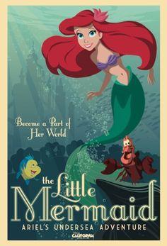 Ariel's Undersea Adventure  The Little Mermaid Attraction Poster located in Disney California Adventure