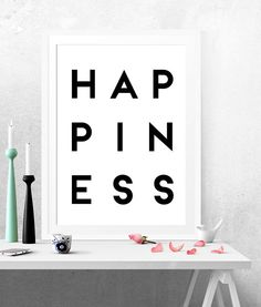 Your place to buy and sell all things handmade Black And White Prints, Minimalist Art, Bedroom Wall, Happiness, Art Prints, Wall Art, Handmade Gifts, Happy, Poster