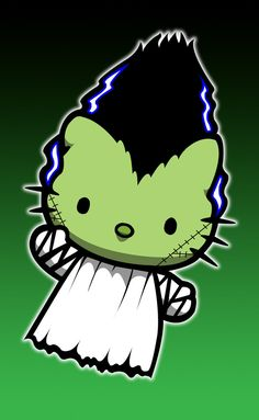 Hello Kitty in Bride of Frankenstein costume