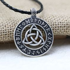 """Universe of goods - Buy Nodic Viking Amulet Pendant Necklace Viking Trinitarian Trinity Triquetra knot Pendant Necklace Jewelry Mammen"""" for only USD. Witch Jewelry, Viking Jewelry, Key Necklace, Pendant Necklace, Alphabet Necklace, Jewelery, Jewelry Necklaces, Vegvisir, Triquetra"""
