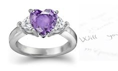 Pink Sapphire Heart and Diamond Heart Engagement Rings