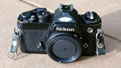 Nikon FE 35mm SLR Film Camera Black with Auto Wide Angle lens #Nikon