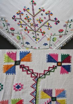 Close-up of the multicoloured (cotton on cotton) embroideries on a 'yazma' (woman's head scarf) from the Bolu province.  Mid-20th century.  (Inv.nr. yaz001 - Kavak Costume Collection-Antwerpen/Belgium).