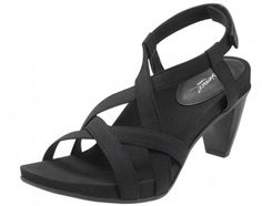 Ashley Multi-Strap Heel Sandal - Black by Aetrex, $129.95 Includes Lynco® shaped footbed for superior arch support and memory foam cushioned heel seats. #heels #aetrex