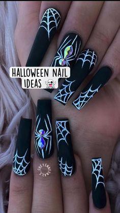 Disney Acrylic Nails, Bling Acrylic Nails, Best Acrylic Nails, Acrylic Nail Designs, Gel Nails, Black Nail Designs, Cute Halloween Nails, Holloween Nails, Halloween Acrylic Nails