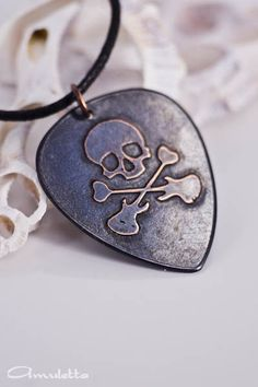 "Skull - Custom guitar pick necklace - large - ""Classy Pick"" brand - Halloween guitar gifts for music lovers Guitar Pick Jewelry, Guitar Pick Necklace, Dog Tag Necklace, Gift For Music Lover, Music Lovers, Custom Guitar Picks, Guitar Gifts, Copper Sheets, Death Metal"