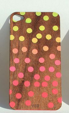 Walnut Veneer iPhone Skin - Neon Spots – Pretty Little Things