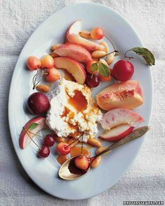 white nectarines, cherries, and plums with honey-drizzled soft cheeses and toasted almonds - martha stewart living july 2007