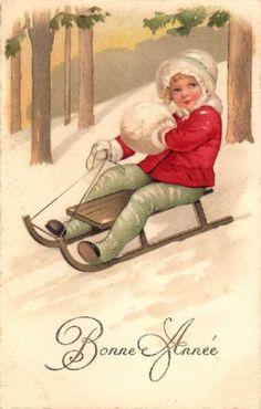 vintage French Happy New Year postcard ~ girl sledding