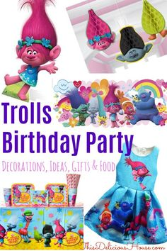 Looking to throw an epic Trolls birthday party? Don't miss this complete list for the best Troll-themed party supplies, decorations and ideas. Birthday Party Goodie Bags, Barbie Birthday Party, Trolls Birthday Party, Troll Party, Cool Birthday Cakes, Frozen Birthday Party, Unicorn Birthday Parties, Birthday Party Decorations, Birthday Ideas