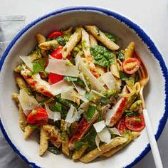 Pesto Chicken Penne with Tomatoes and Shaved Parmesan   Plated   Cook more. Live better.