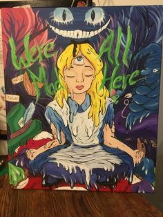 My Alice in wonderland painting for a custom order in acrylic. Alice In Wonderland Paintings, Alice In Wonderland Clothes, Wonderland Alice, Wonderland Party, Trippy Painting, Cartoon Painting, Painting & Drawing, Trippy Drawings, Dark Art Drawings