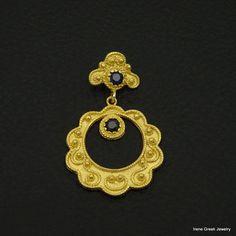 LUXURY SAPPHIRE CZ BYZANTINE 925 STERLING SILVER 22K GOLD PLATED GREEK PENDANT #IreneGreekJewelry #Pendant