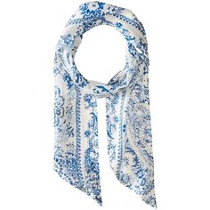 Michael Stars Porcelain Skinny Scarf (Lapis) ($28) ❤ liked on Polyvore featuring accessories, scarves, michael stars scarves, oblong scarves, lightweight shawl, floral scarves and long shawl