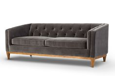 We are so in love with our NEW Velvet Sofa called Natale in Cotton Concrete. Style/Type - Mid-Century Modern velvet sofa / 3 seat sofa / tufted sofa