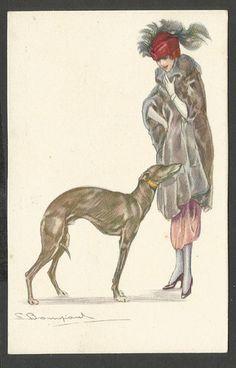 Old greyhound postcard, S. Bompard