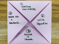 Writing Linear Equations from Word Problems - Foldable--> could also be used to help with singapore math bar modeling. Math Teacher, Math Classroom, Teaching Math, Teaching Ideas, Math 8, Classroom Ideas, Free Math, Future Classroom, Teacher Stuff