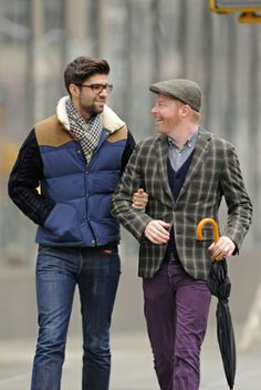 Quite the handsome duo! A dapper Jesse Tyler Ferguson and husband Justin Mikita walk arm in arm in SoHo, New York City