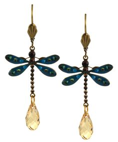 Dragonfly Earrings, Teal/Fawn Gold Plated Dangle with Jeweled Drop