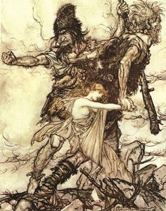 "Fasolt suddenly seizes Freia and drags her to one side with Fafner lithograph by Arthur Rackham [published in ""The Rhinegold & The Valkyrie"", facing page from Scene 2 of ""Das Rheingold"" by Richard Wagner Arthur Rackham, Thor, Loki, Human Giant, Vikings, Nephilim Giants, Richard Wagner, Nature Spirits, Ecole Art"