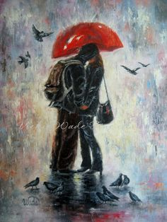 Kiss After School Print, lovers, kissing in the rain, red umbrella, school, romantic, figure, Vickie Wade art.