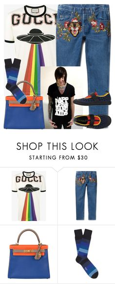 """""""Graphic Prints, Patterns and/or Color Blocking """"Menswear"""""""" by nefertiti1373 ❤ liked on Polyvore featuring Gucci, Hermès, Paul Smith, Prada, men's fashion and menswear"""