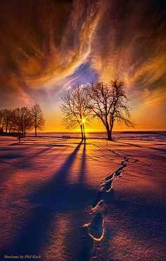 ~~It's Time to Come Home ~ winter sunset in Wisconsin, Horizons by Phil~Koch~~