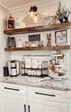 Farmhouse Kitchen Decor, Kitchen Redo, Home Decor Kitchen, New Kitchen, Home Kitchens, Kitchen Remodel, Kitchen Design, Cozy Kitchen, Coffee Bars In Kitchen