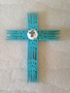 Handmade clothespin cross.  With knob and cross accent.  By Upcycled_Diva