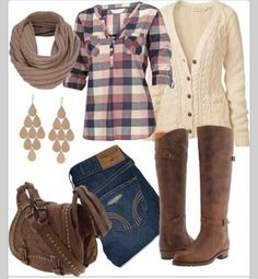 Lovely combination : I think I need some plaid flannel shirts : fall outfit