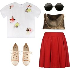 Red skirt, created by beautifulnoice on Polyvore