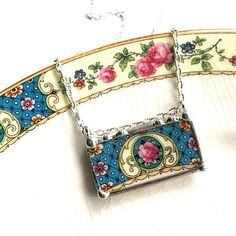 Broken china jewelry recycled china necklace antique