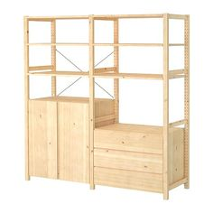 IKEA IVAR 2 sections/shelves/cabinet/chest Pine 174x50x179 cm Untreated solid wood is a durable natural material which is even more hardwearing and easy ...