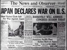Headlines ..... Japan declares war on US December 7, 1941