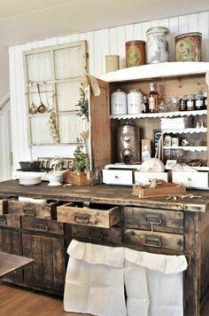 holz schubladen regale moderne landhausküchen