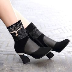 Black Rhinestone Studded Mesh Summer Ankle Boots High Heels Shoes Woman
