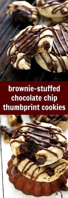 2-ingredient brownie center stuffed inside chocolate-chip cookies. Easy, creative, delicious!