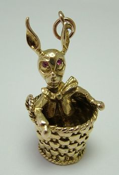 Large 1960's 9ct Gold Dressed Rabbit in a Basket Charm with Ruby Eyes