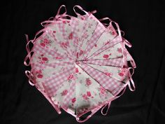 3 meters shabby chic roses and check hand made floral  hen night party bunting