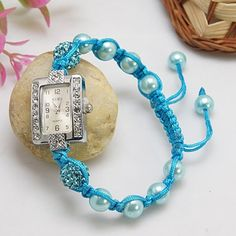 Charming Shamballa Bracelet, with Alloy Rhinestone Watch