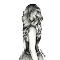 Wavy Hair Sketch, Black and White Sketching Drawing, High Quality... ❤ liked on Polyvore featuring fillers, art, drawings, sketches, backgrounds, doodle and scribble